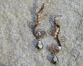 Bronze and pyrite earrings with quartz and crystal