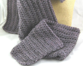 Wide model French Lavender medium purple Alpaca Blend Crochet Scarf ... awesome for men or women