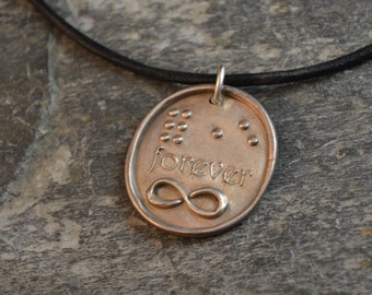 Forever Braille Pendant in Pure Silver JewelryInBraille