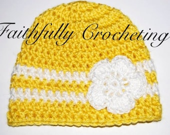 0 - 3 months hat with flower...Crocheted...Sunshine Yellow