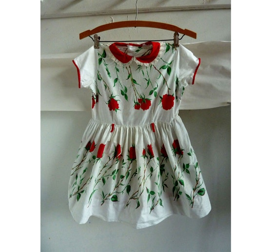 Vintage Girls Dress  50s Red White Rose Lace  Ruffle Petticoat Cotton 60s