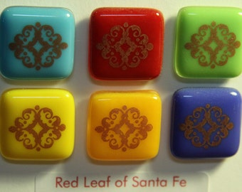 Brightly Colored Glass Magnets