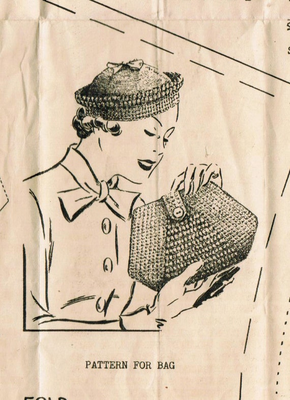 Retro Handbags, Purses, Wallets, Bags 1930s Reproduction Alice Brooks 5299 Vintage Crochet Pattern Misses Hat and Purse Head Size 22 in $5.00 AT vintagedancer.com
