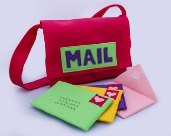 Mail Bag with Working Envelopes, Pretend Mail Set, Mail Bag, Custom Order