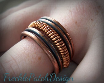 Antiqued Coil Ring in Pure Copper / Made to Order