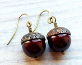 Sophia Acorn Swarovski Pearl Earrings in Maroon and Brass