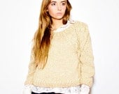 SOPHIE hand knit sweater SAND cropped braided shoulders cables wool and mohair