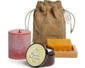 Jensan 4-piece Pillar Candle and Organic Bath and Body Gift Bag Set