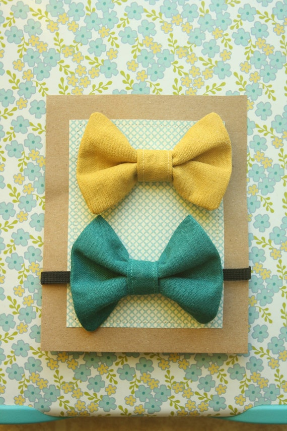 Set of 2 Vintage Inspired Teal and Mustard Bow