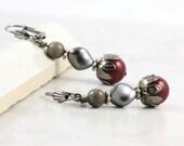 Deep Red Smoke Gray Pearl Earrings Winterberry Kashgar Garnet Gemstone Oxblood Jewelry Gunmetal Mothers Day Jewelry