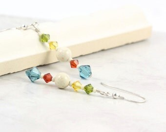 Yellow Earrings Carnival Jewelry Red Blue Crystal Riverstone Gemstone Earrings Circus Colors Olive Green Earrings Topaz Jewelry for Her