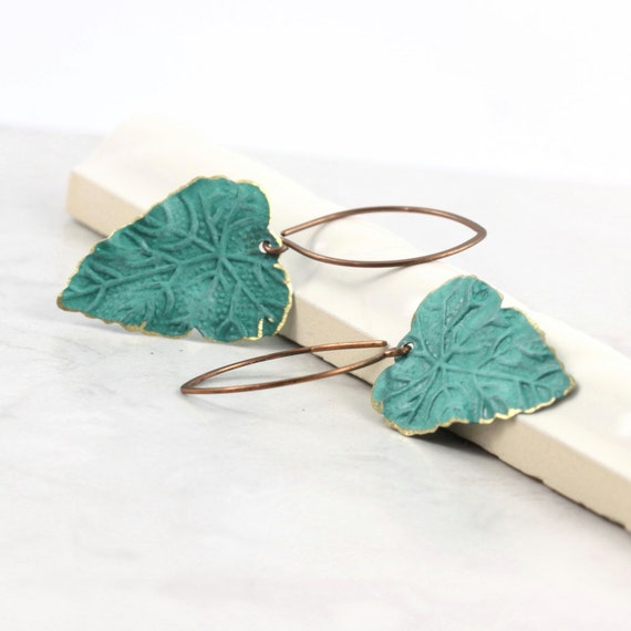 Teal Blue Leaf Earrings Rustic Brass Patina Fall Fashion Autumn Leaves Woodland Jewelry Mothers Day Jewelry