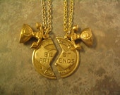 Long Distance Best Friend Necklace Set with Telephone Charm Jewelry