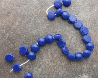 Vintage Glass Nailheads or Sew Ons - 5mm Opaque Royal Blue (24 pc)