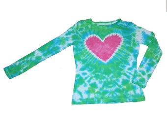 Girls Shirt in Lime Green, Turquiose Tie Dye with a Hot Pink Heart-Tie Dye Shirt-Girls Tie Dye Shirt- Size 6 and READY TO SHIP