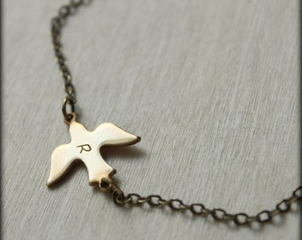 FREE SHIPPING. Hand Stamped Initial Letter. Brass Bird Necklace.