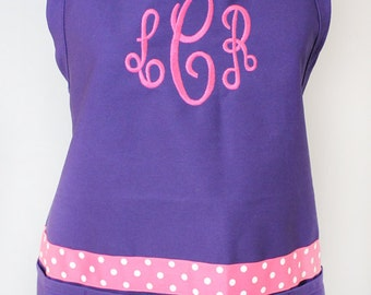 Monogrammed Gift Womens Purple Apron Personalized Embroidered