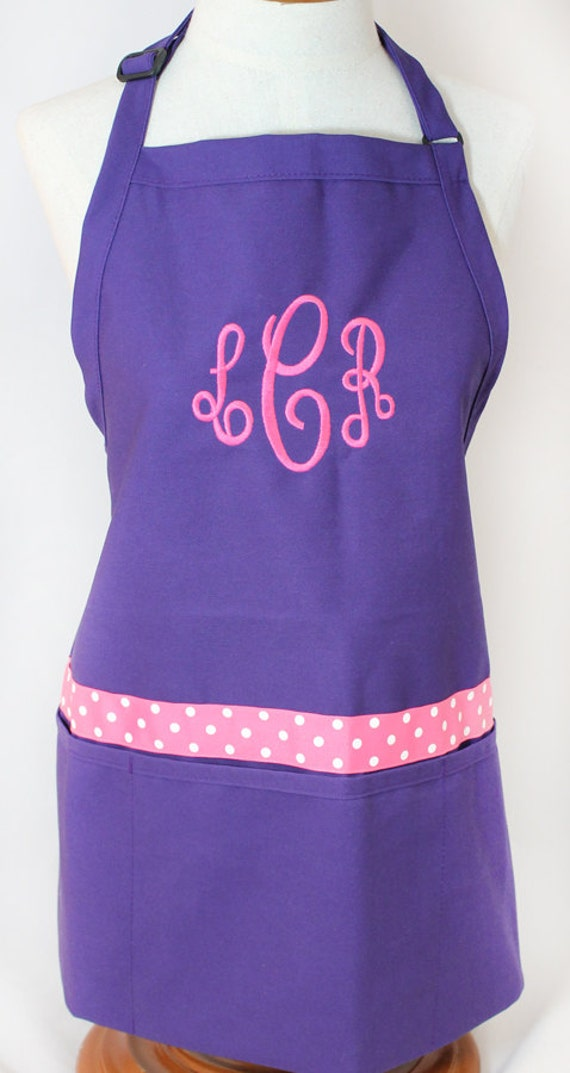 items similar to monogrammed gift womens purple apron personalized embroidered on etsy