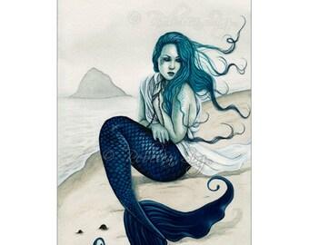 Windswept ACEO Print Gothic MERMAID shore Sea Swept Series Artist Trading Cards ATC Fantasy Art beach teal blue green sea