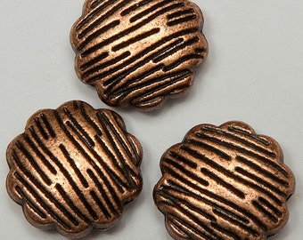 6 Tree Bark Pattern Coin Beads in Antiqued Copper Tone, Lead/Nickel Free Base Metal Beads, M0207-AC