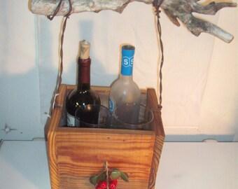 Antique Long Leaf Pine 4 Bottle Wine Tote - Gift Basket
