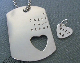 I Carry Your Heart dog tag  and sterling silver heart charm