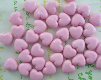 Tiny Puffy Heart BEADS 30pcs PH Pink Size XS