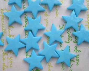 Flat Star beads 10pcs Blue