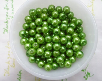 Bright Green Pearlized round BEADS 8mm 50pcs PD-005
