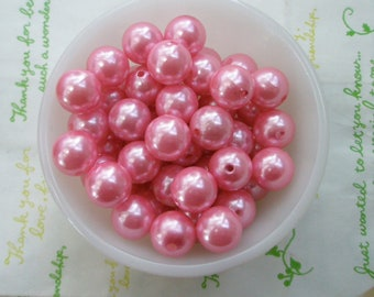 Pink Pearlized round beads 14mm 10pcs PD-006