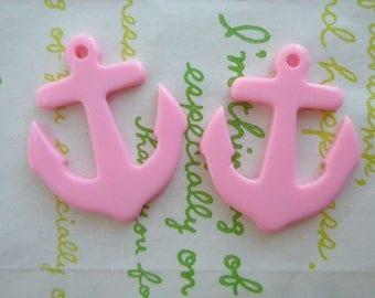 SALE Acrylic  ANCHOR charms 2pcs Plain Pink