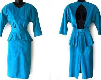 80s Suede Teal Open Back Peplum Dress S