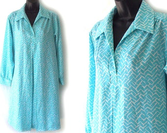 80s Aqua with White Geometric Print Dress M L