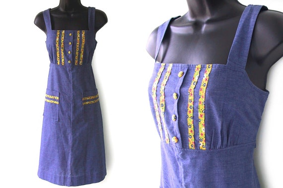 70s Blue with Floral Calico Print Accents Sundress S M