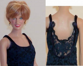 Replica for Princess Diana - Catherine Walker Navy Lace Love & War Gown