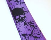 Purple Boys Skull necktie - pre tied 14 inch long boy's tie Distressed Skull