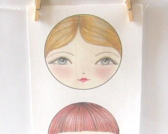 Cloth doll face - Applique SEW IN Matryoshka doll faces set of 3 - Natalia, Tatiana and Ekaterina doll faces