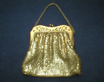 Antique Gold Mesh Purse Wristlet Bag Vintage