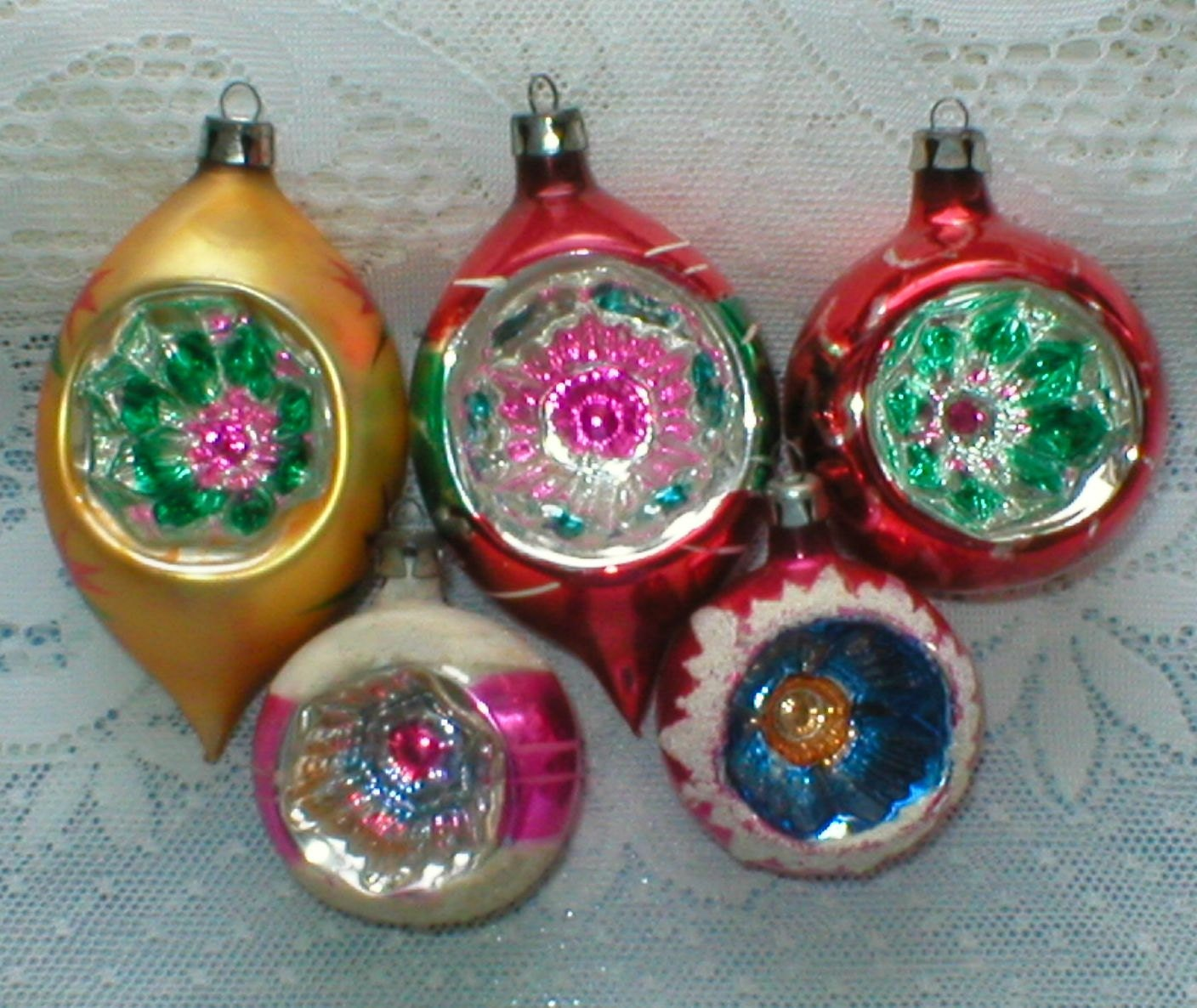 Poland christmas ornaments fancy indents lot of 5 by vintagegifts
