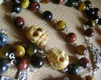 So  Rare   Handmade Bone Skull     Tiger Eye Jade Beads Rosary  San Damiano Cross Catholic rosary beads crucifix medal necklace