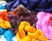 Silk Sari Fiber waste Bulk lot 2.2 pounds Assorted colors