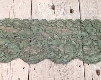WIDE Stretch Lace MOSS GREEN  -3 inch -2 yards for 3.99