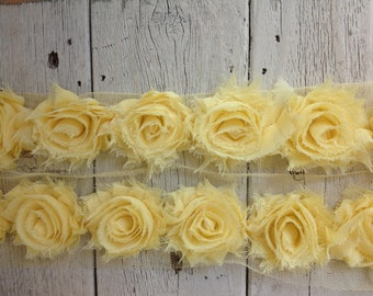 Shabby Chic BUTTERCUP MINI Rose Trim on Net-1 1/2 inch- 1/2 yard