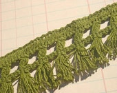 Vintage Green Fringe Trim - Sewing Decor Embellishment - 1 Yard