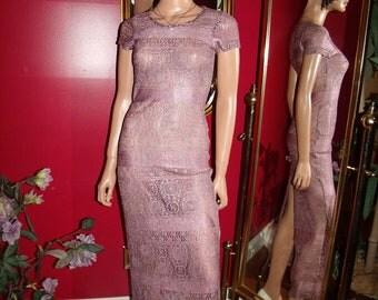Vintage 80s  Mauve Lace  Dress Flapper Garden  Tea Party Size N/A