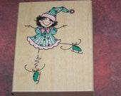 Skatin Around  - Penny Black wood mounted Rubber Stamp EtsySale