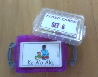 FLASH CARDS (SET 6) - 'Olelo Hawai'i / English -  80 cards plus storage box