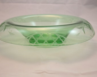 Green Etched Depression Glass Console Bowl Flower Basket Weave Shallow Flared
