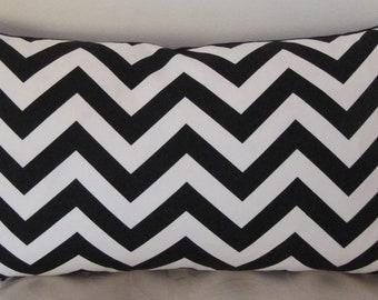 "Zig Zag Chevron Black and White Lumbar Pillow Cover 12"" x 22"""