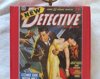 PULP FICTION DETECTIVE --damsel in distress--  on painted mini wooden block